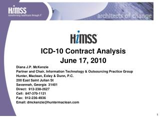 ICD-10 Contract Analysis  June 17, 2010 Diana J.P. McKenzie