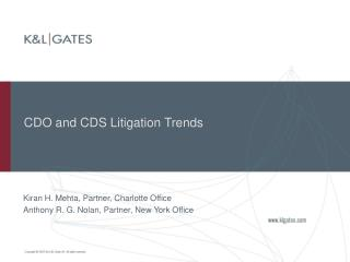CDO and CDS Litigation Trends