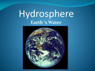 Earth �s Water