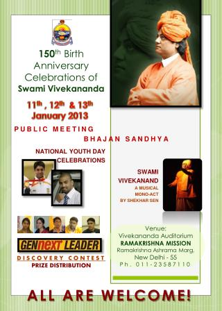 150 th  Birth Anniversary Celebrations of  Swami Vivekananda