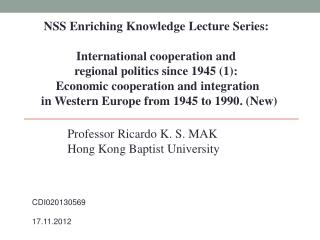 NSS Enriching Knowledge Lecture Series:  International cooperation and