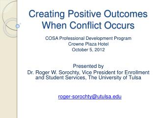 Creating Positive Outcomes When Conflict Occurs