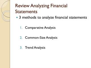 Review Analyzing Financial Statements