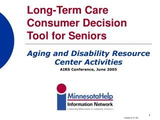 Long-Term Care Consumer Decision Tool for Seniors