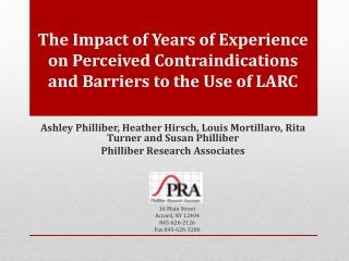 The Impact of Years of Experience on Perceived Contraindications and Barriers to the Use of LARC