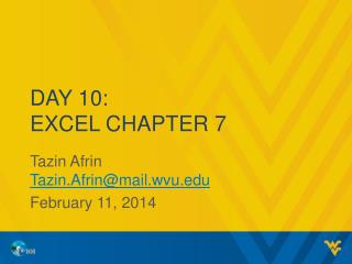 Day 10: Excel Chapter 7