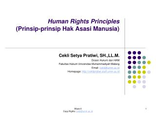 Human Rights Principles  (Prinsip-prinsip Hak Asasi Manusia)