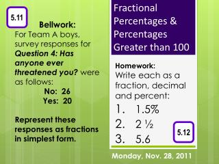 Fractional Percentages & Percentages Greater than 100