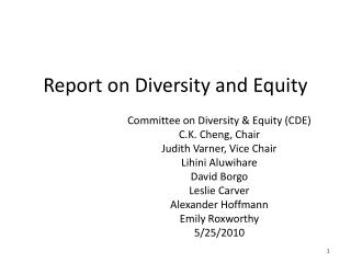 Report on Diversity and Equity