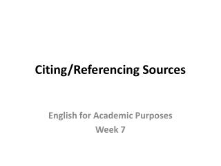 Citing / Referencing Sources