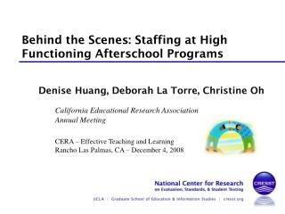 Behind the Scenes: Staffing at High Functioning Afterschool Programs