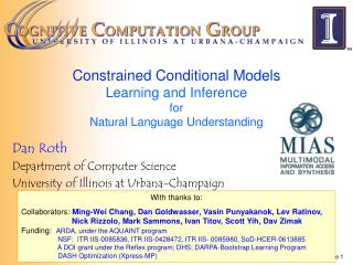 Constrained Conditional Models  Learning and Inference  for  Natural Language Understanding