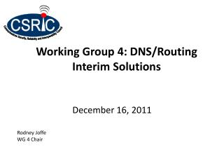 Working Group 4: DNS/Routing Interim Solutions