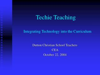 Integrating Technology into the Curriculum