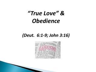 """""""True Love"""" & Obedience (Deut.  6:1-9; John 3:16)"""