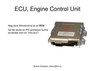 ECU, Engine Control Unit