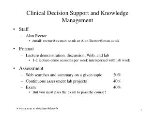 Clinical Decision Support and Knowledge Management