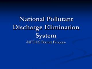 National Pollutant Discharge Elimination System