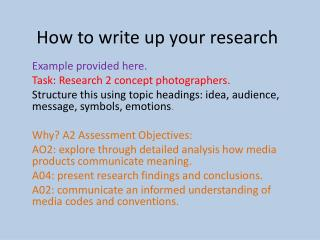 How to write up your research