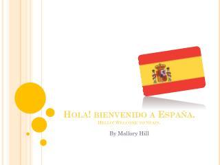 Hola! bienvenido a España . Hello! Welcome  to Spain .