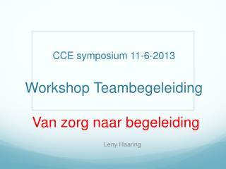 CCE symposium 11-6-2013 Workshop Teambegeleiding Van zorg naar begeleiding