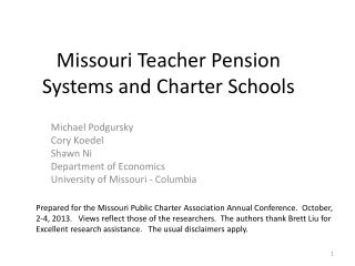 Missouri Teacher Pension Systems and Charter Schools