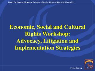 Economic, Social and Cultural Rights Workshop: Advocacy, Litigation and Implementation Strategies