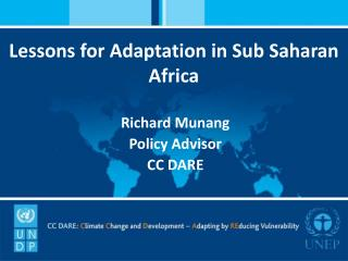 Lessons for Adaptation in Sub Saharan Africa