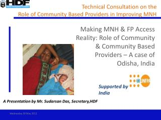 Technical Consultation on the  Role of Community Based Providers in Improving MNH