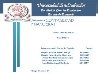 Universidad de El Salvador Facultad de Ciencias Econ�micas Escuela de Econom�a