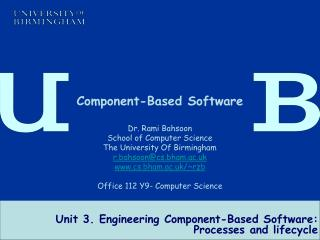 Unit 3. Engineering Component-Based Software: Processes and lifecycle