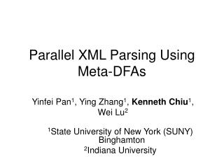 Parallel XML Parsing Using Meta-DFAs