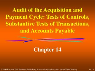 Audit of the Acquisition and Payment Cycle: Tests of Controls, Substantive Tests of Transactions, and Accounts Payable