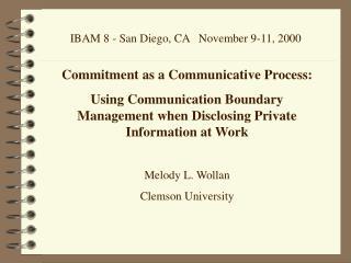 IBAM 8 - San Diego, CA   November 9-11, 2000