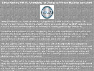 SBGA Partners with OC Champions for Change to Promote