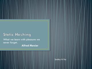 Static Hashing