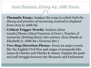 Juan Santana, Group #4: 1987 Exam