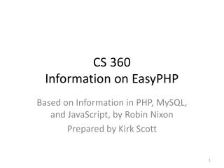 CS 360 Information on  EasyPHP
