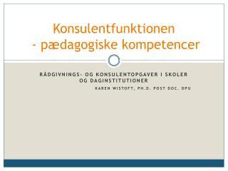 Konsulentfunktionen  - p�dagogiske kompetencer
