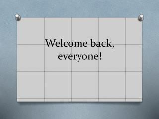 Welcome back, everyone!