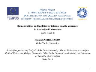 Responsibilities and facilities for internal quality assurance  in Azerbaijani Universities