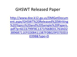 GHSWT Released Paper