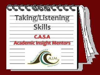 Note Taking/Listening Skills