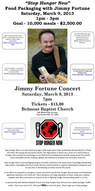 """Stop Hunger Now""  Food Packaging with Jimmy Fortune Saturday, March 9, 2013 1pm - 3pm"