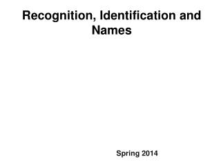 Recognition,  Identification and Names