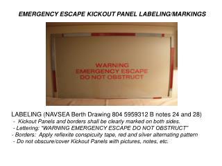 EMERGENCY ESCAPE KICKOUT PANEL LABELING/MARKINGS