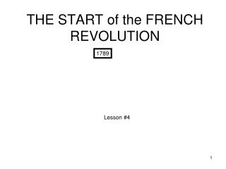 THE START of the FRENCH REVOLUTION