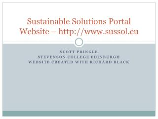 Sustainable Solutions Portal Website – sussol.eu