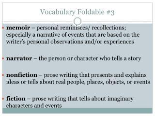Vocabulary Foldable #3