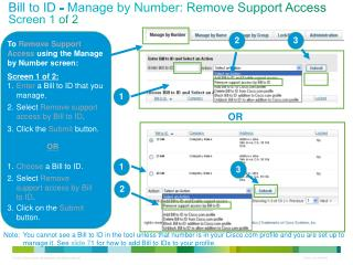 Bill to ID - Manage by Number: Remove Support Access Screen 1 of 2